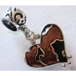 Cheetah Silver Plated Enamel Heart Dangle Charm