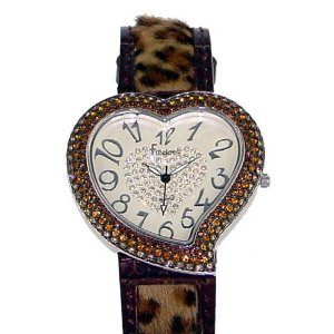 Freelook Women's Heart Shape Leopard Leather Band Watch