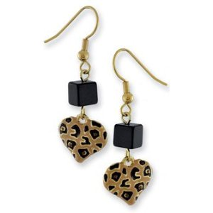 Gold Plated Leopard Print Heart Bead French Earrings