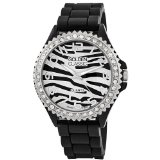 Golden Classic Women's Rhinestone Black Zebra Silicone Watch