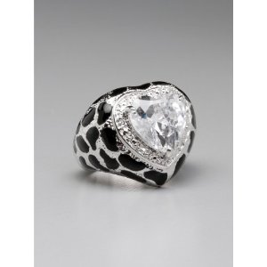 GUESS Leopard Stone Heart Ring – Size 6, SILVER