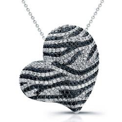 Zebra Heart Black and White Diamond Necklace