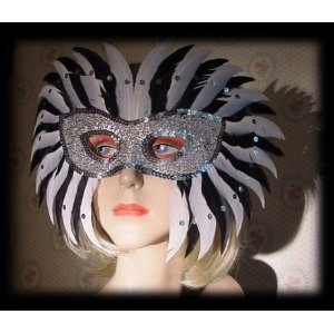 Zebra Starlight Mardi Gras Feather Mask