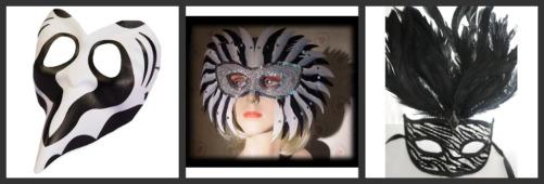 zebra print venetian masks