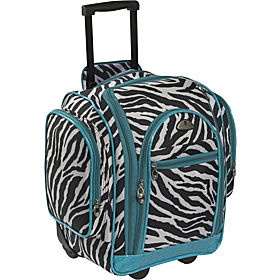 American Flyer Animal Print Carry-On Organizer Zebra Teal