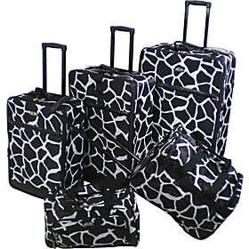 American Flyer Giraffe Animal Print 5 Piece Luggage Set