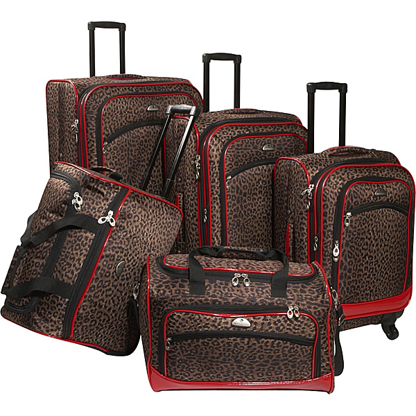 American Flyer Leopard 5 Pc Spinner Luggage Set