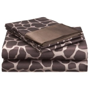 Giraffe Print Satin Sheet Set