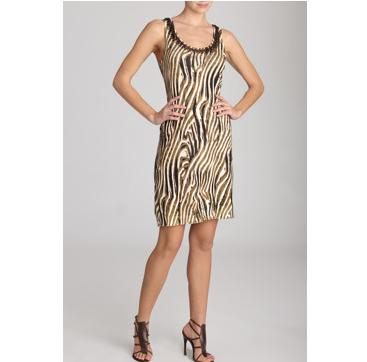 Josie Natori Zebra Print Tank Dress