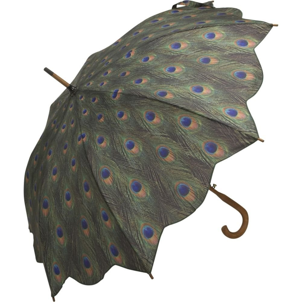 Peacock Print Auto Open Stick Umbrella