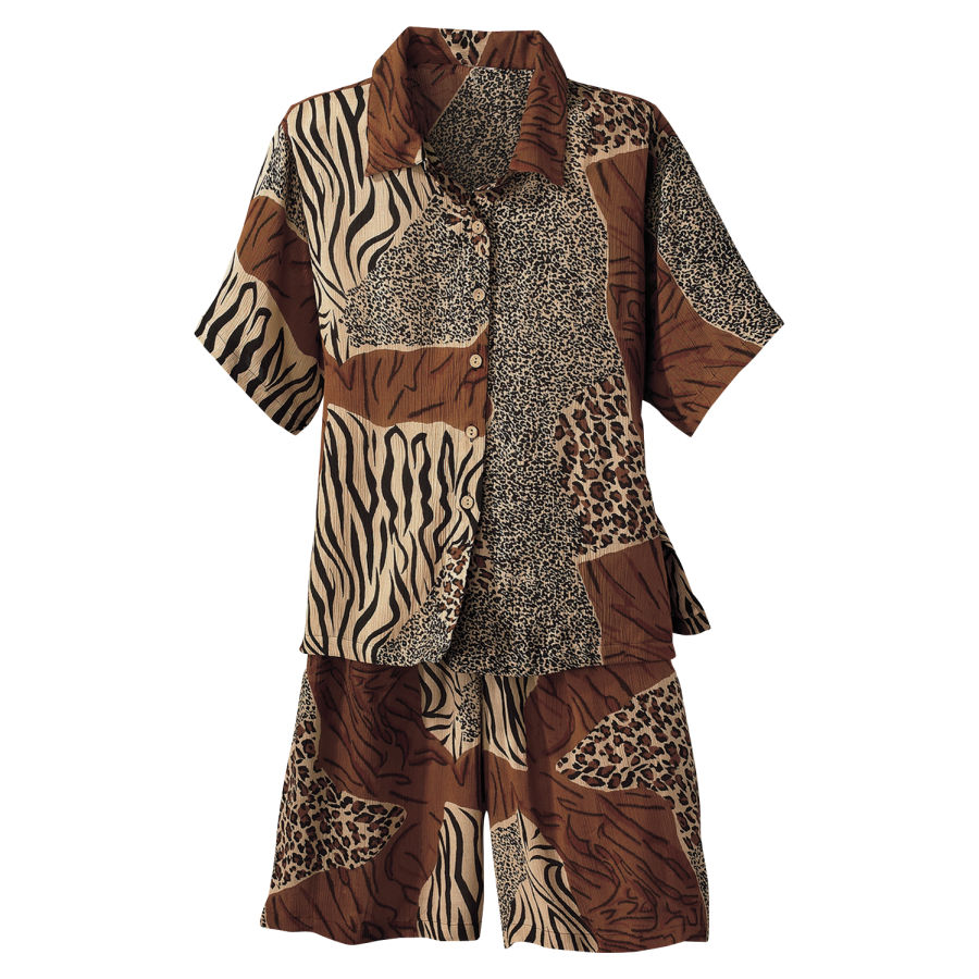 Animal Print Shirt And Short Set