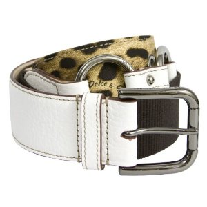 Dolce & Gabbana White Leather Brown Canvas Leopard Print Belt