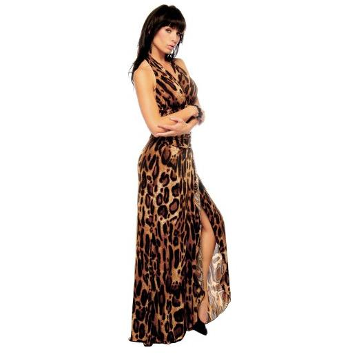Leopard Halter Evening Gown Long Maxi Dress