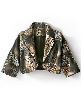 Newport News Animal Print Cropped Sateen Jacket