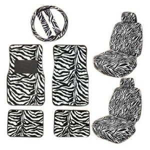 Zebra Car Mats Seat Steering Wheel Cover Set