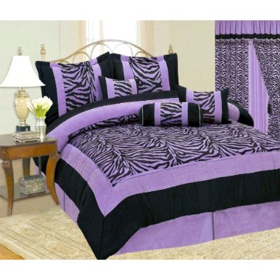 7 Pieces Zebra Queen Size Micro Suede Comforter Set / Bed-in-a-bag