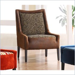 Faux Leather Club Chair with Leopard Print