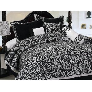 King Size Bedding-7 Pieces Zebra Micro Fur Comforter Bed-in-a-bag Set