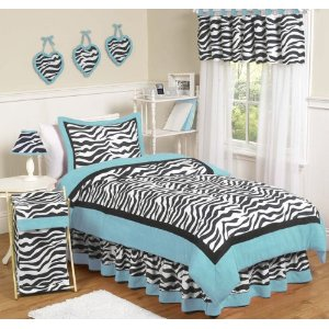 Turquoise Zebra Teen Bedding 3 pc Full / Queen Set