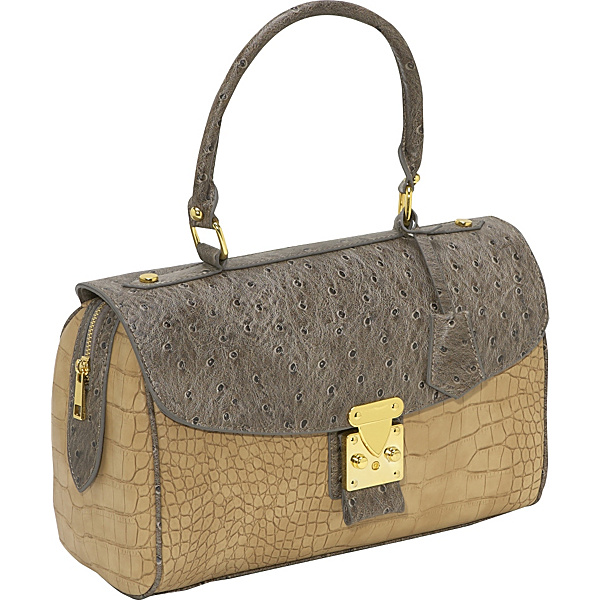Ashley M Ostrich Embossed Satchel Bag