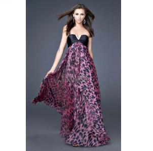Leopard Black and Fuchsia Evening Gown