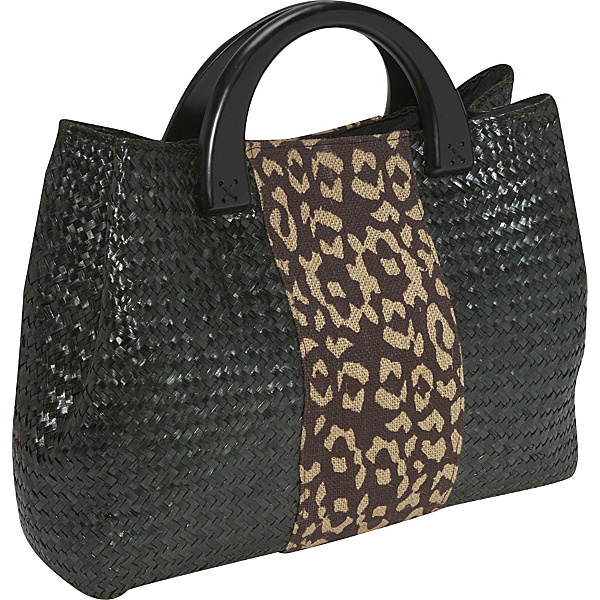 Magid-Matte Straw Wood Tote With Leopard Detail