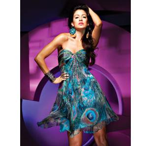 Peacock Print Short Prom Dress