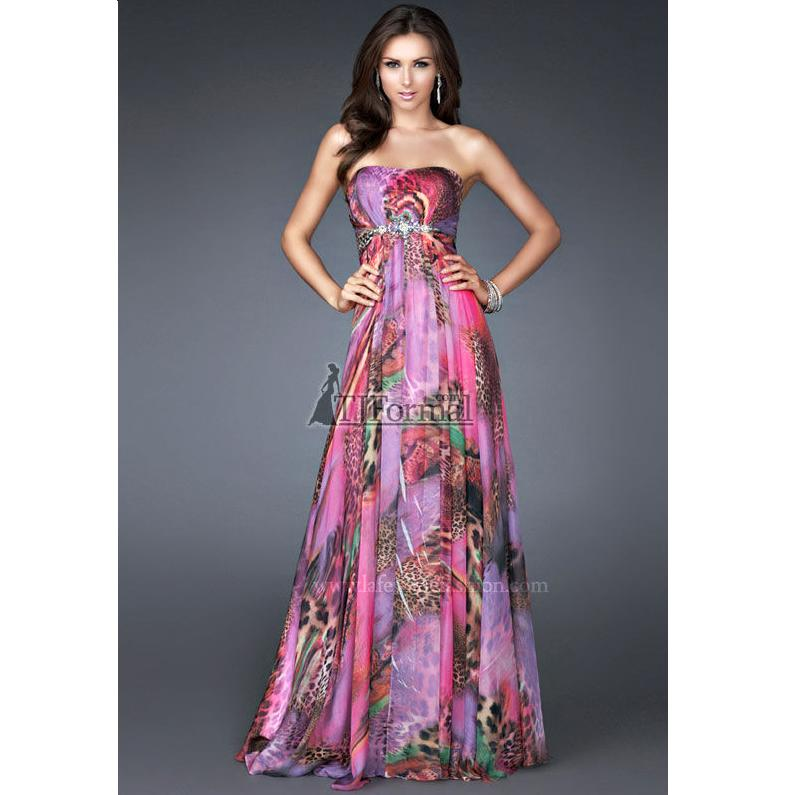 Rainbow Animal Print Prom Gown Dress