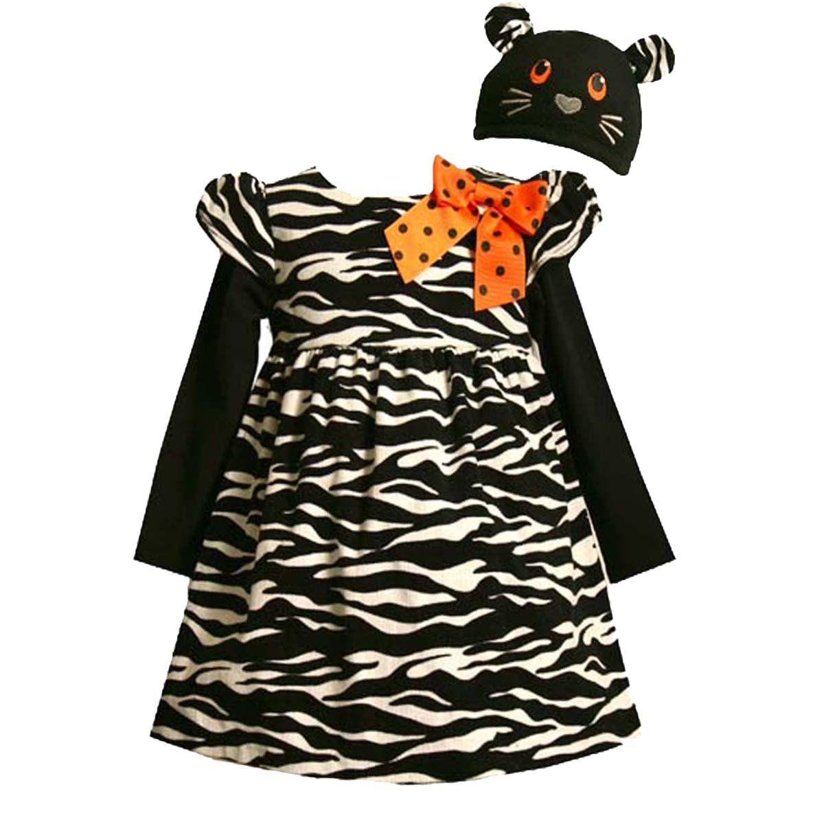 Bonnie Jean Infant Girls 2-Piece Zebra Corduroy Party Dress Set