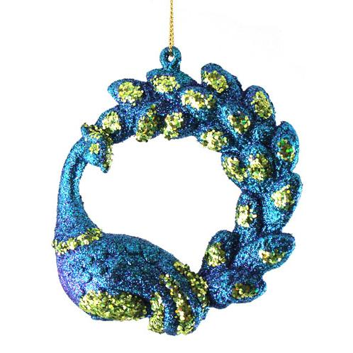 Divine Regal Peacock Christmas Ornament