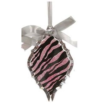 Glittered Magenta Pink Zebra Print Diamond Prism Christmas Ornament