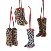 Pack of 12 Jungle Animal Print Ladies Boots Christmas Ornaments