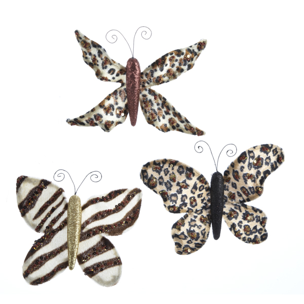 Pack of 24 Cheetah, Zebra & Tiger Animal Print Butterfly Christmas Ornaments