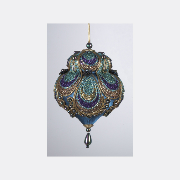 Peacock Glittered and Beaded Satin Teardrop Christmas Ornament
