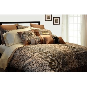 Pointehaven 8-Piece  Queen Animal Print Safari Bedding Ensemble