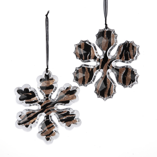 Tiger Print Snowflake Christmas Ornaments