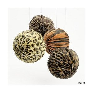 12 Paradise Safari Animal Print Party Lanterns