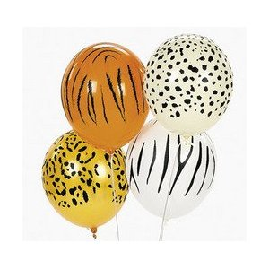 50 Animal Print Balloons – Tiger, Cheetah, Leopard, Zebra