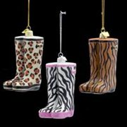 Pack of 12 Animal Print Rain Boot Christmas Ornaments