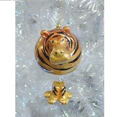 Glitter Tiger Ball Christmas Ornament With Dangling Legs