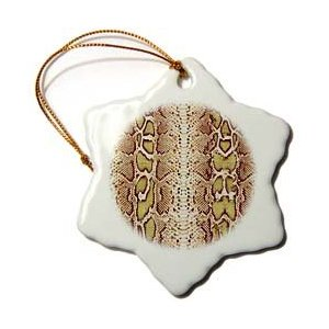Janna Salak Designs Green and Brown Snakeskin Animal Print Christmas Ornament