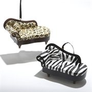 Pack of Zebra and Cheetah Animal Print Chaise Lounge Christmas Ornaments 2″