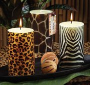 Pack of 6 Safari Scented Animal Print Pillar Candles