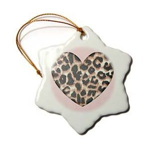 Patricia Sanders Creations Pink Heart Leopard Animal Prints Christmas Ornament