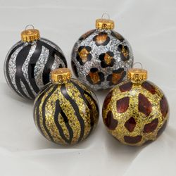Animal Print Sparkling Glass Ball Christmas Ornaments