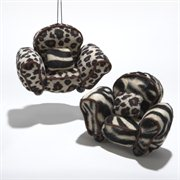 Pack of 6 Zebra and Cheetah Animal Print Chair Christmas Ornaments