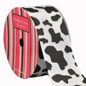 1.5″ White w/ Black Cow Animal Print Grosgrain Ribbon 10 yard