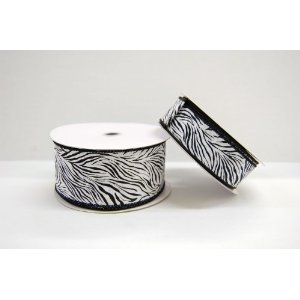 2.5″ By 25 yd WIRED Zebra Ribbon