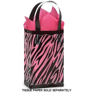 25 Black & Clear ZEBRA Plastic Shopper Gift Bags