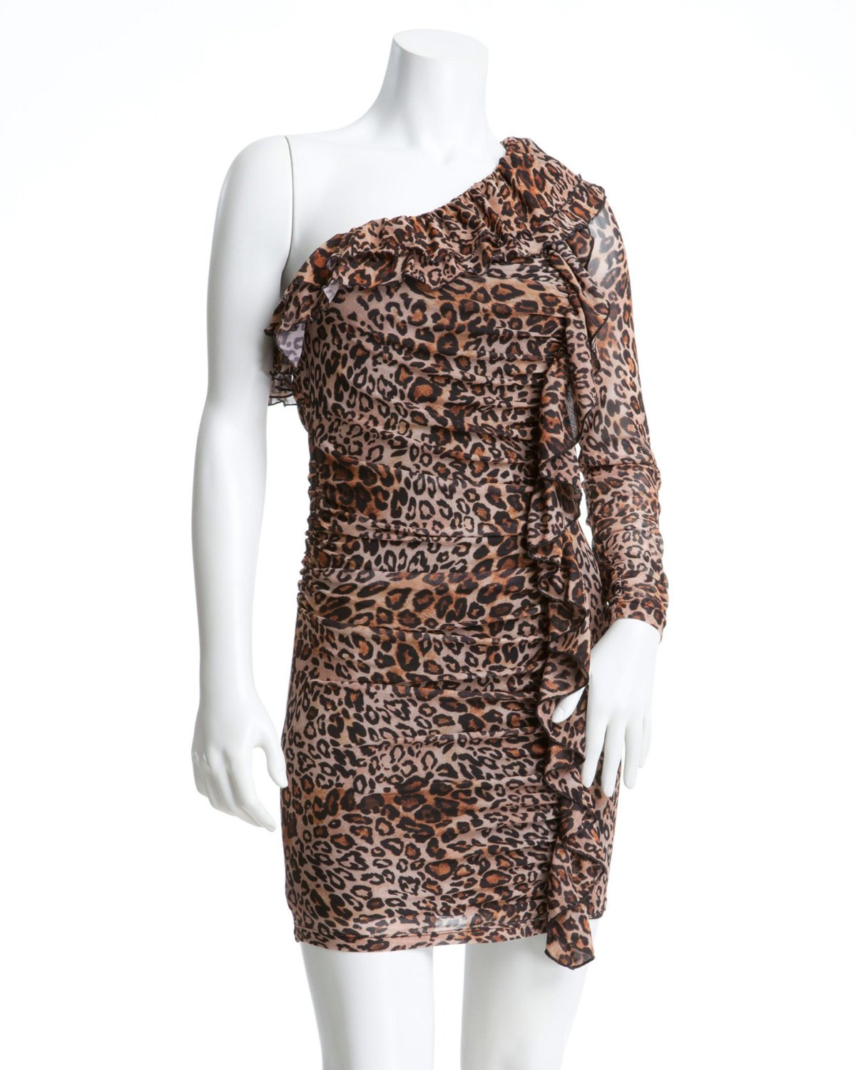 2b Sabrina One-Shoulder Leopard Animal Print Dress